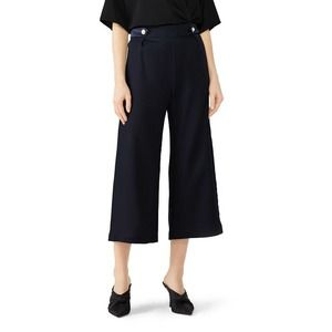 Mother of Pearl Trousers Size 2-4 Flared Crop Navy